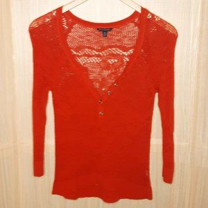 American Eagle Open Knit Red 3/4  Button Down